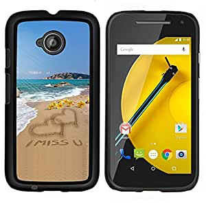 "Be-Star Único Patrón Plástico Duro Fundas Cover Cubre Hard Case Cover Para Motorola Moto E2 / E(2nd gen)( Del amor del corazón I Miss U Sand Beach Ocean Summer"" )"