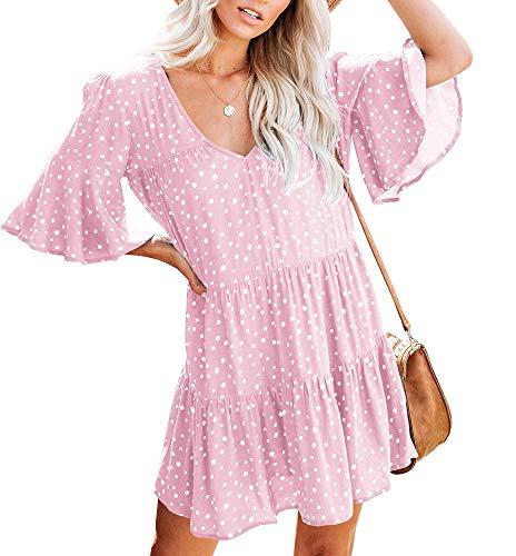 Saikesigirl Womens Polka Dot V Neck Loose Ruffle Flowy Mini Short T-Shirt - Sundress Pink