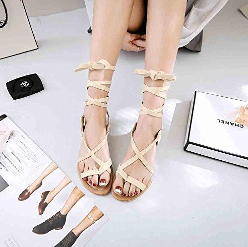 Easemax Womens Retro Open Toe Ring Self Tie Flat Gladiators Sandals Beige wemgDb