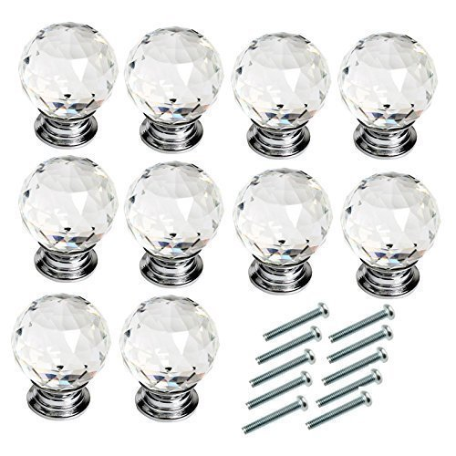 Xshelley 10Pcs 40mm Diamond Cut Clear Crystal Glass Kitchen Drawer Door Knob Cupboard Pull Handle Hardware for Bedroom Furniture, Bedside Cabinet, Dresser Unit and Chest