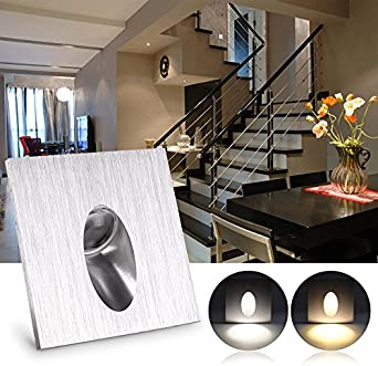 ONEVER 1W Cuadrado LED Empotrado Porche Vía Paso Escalera Luz Lámpara de pared Sótano Bombilla Blanco frío AC 100-245V: Amazon.es: Iluminación