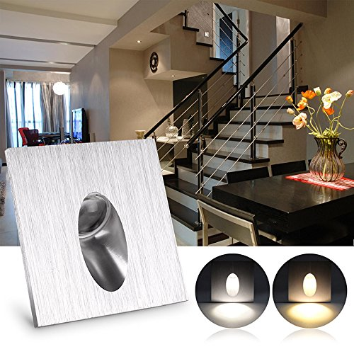 Lighting Basement Washroom Stairs: Good LED Recessed Wall Lamp, ALLOMN 3 Pack Square Recessed