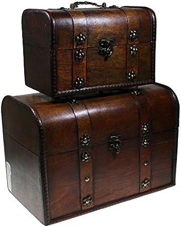 CHRISTIAN GAR Juego de 2 Baúles de Madera Decorada con asa. (29,5 x 20,5 x 18,5 cm) - Baúles Decorativos MH-2122: Amazon.es: Hogar