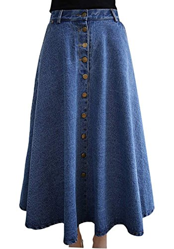 Plisse Jupe Haute Taille Robe Longue Femme Vdual Pliss en vase Jean Bleu Jupe 0wxfq6IE
