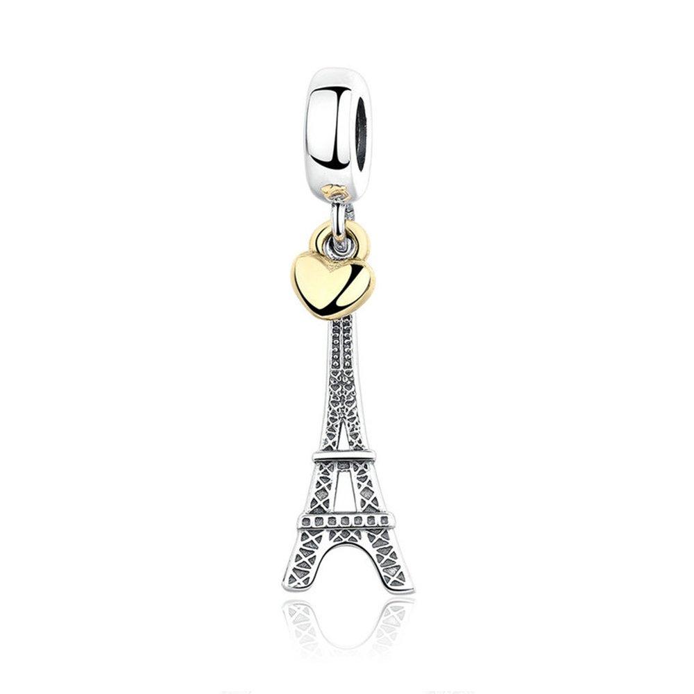 9a197e15f Love Effiel Tower Dangle Charm 925 Sterling Silver Charms Fits Pandora,  European Bracelets Compatible: Amazon.co.uk: Clothing