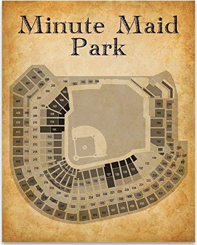 (Houston Minute Maid Park Baseball Seating Chart - 11x14 Unframed Art Print - Great Sports Bar Decor and Gift Under $15 for Baseball Fans)