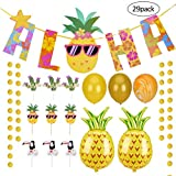 LegendTech Hawaiian Party Gold Glittery Aloha Banner with Pineapple + Flamingo Banner and Balloons for Luau Party Pack of 29