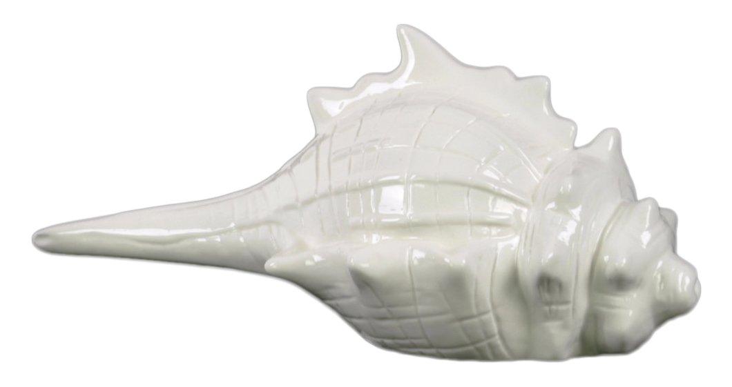 Benzara Ceramic Conch Seashell Distressed Gloss Finish White Figurines One Size