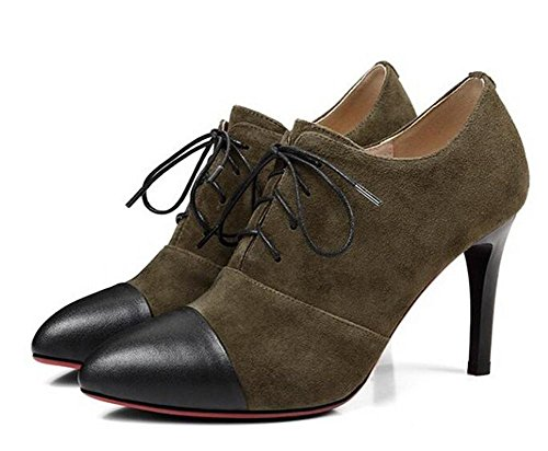Beauqueen Bombas de tacón alto talón Almendra en forma de dedo del pie Oxford Lace-Up 2017 Primavera de verano de moda casual zapatos de oficina Europa tamaño 34-39 army green