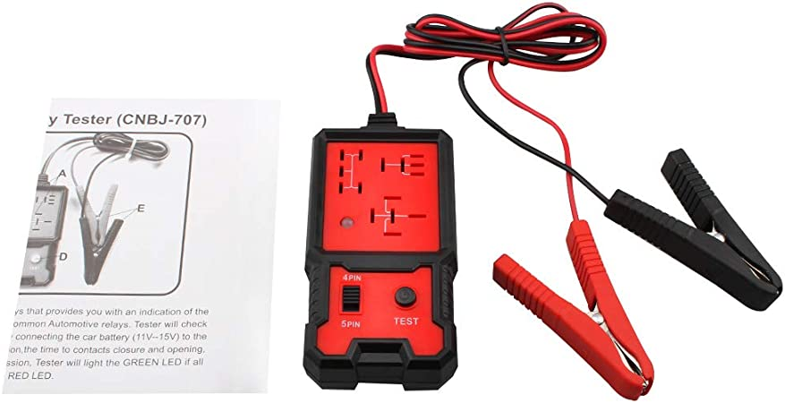 Four-pin Five-pin Car Battery Diagnostic Checker Tools with Clips for Auto Repairing Mabor 12V Electronic Automotive Relay Tester