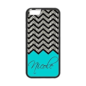 Black Grey Chevron & Turquoise Pattern (NOT ACTUAL GLITTER) Personalized Custom Best Hard Plastic Case for iPhone6 ( Only for 4.7 inches)