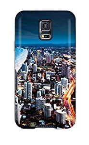 Galaxy S5 Golden City Coast Print High Quality Tpu Gel Frame Case Cover