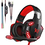 Mengshen Gaming Headset - With Mic, Volume Control and Cool LED Lights - Compatible with PC, Laptop, Smartphone, PS4 and Xbox One Controller, G2000 (Red)