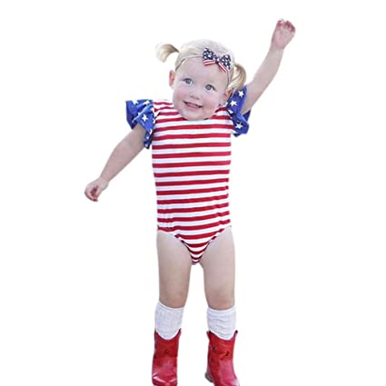 66b00d75980e Amazon.com  Infant Toddler Baby Girls 4th Of July Summer Outfits Clothes  Cuekondy Stars Striped Romper Jumpsuit Headband Set for 3-18 Months (3M