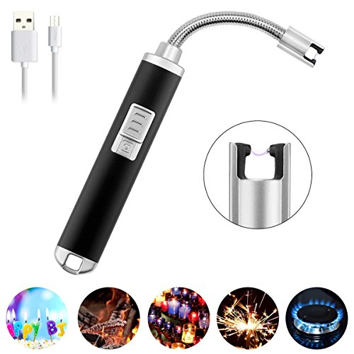 ACMEDE Electric Arc Lighter Rechargeable Flameless Electronic Lighters 360° Flexible Elbow Windproof Safety Switch Splashproof for BBQ Stovetops Fireworks Camping
