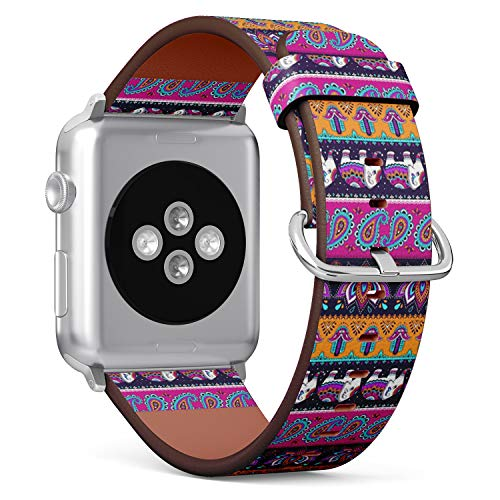 Compatible with Small Apple Watch 38mm & 40mm Leather Watch Wrist Band Strap Bracelet with Stainless Steel Clasp and Adapters (Tribal Elephant)