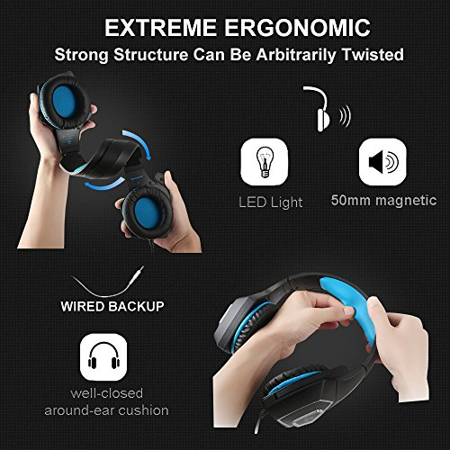 Gaming Headset for PS4, Xbox One, Over-Ear Headhones with Stereo Sound LED Light Mic (Blue)