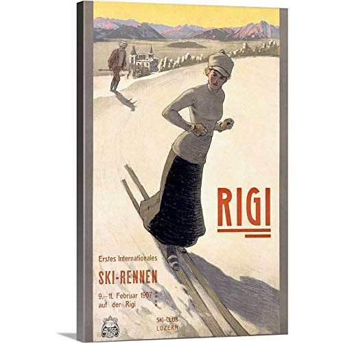 GREATBIGCANVAS Gallery-Wrapped Canvas Entitled Rigi Ski Rennen, 1907, Vintage Poster by 12