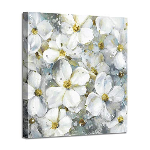 Flower Abstract Art Floral Picture: White Botanical Artwork Painting on Canvas Wall Art for Dining Rooms (24