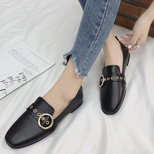 Simple Ballerines Escarpins britannique Peu Plates Chaussures Profonde Bouche Femme Mode Noir Derbies Petites qT1wzz