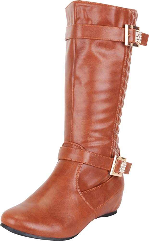 Camel Pu Cambridge Select Women's Quilted Crystal Rhinestone Buckle Hidden Wedge Mid-Calf Riding Boot