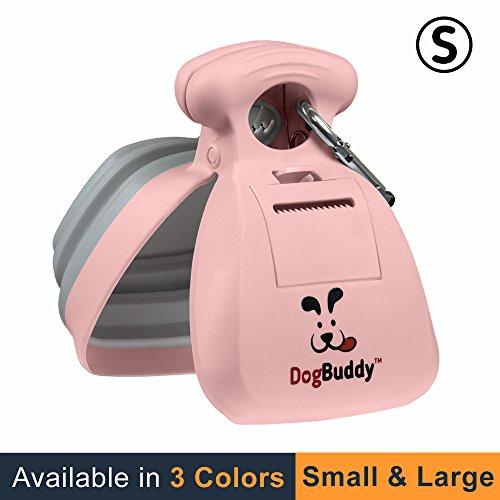 DogBuddy Pooper Scooper - Small - Portable Poop Scoop - Dog Waste Bag Dispenser & Dog Leash Clip Included - Petal