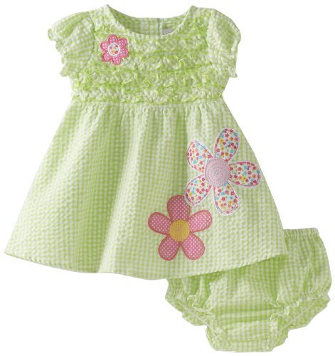 Youngland Baby Girls' All Over Seersucker Smocked Bodice Flower Appliques Dress