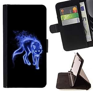 For Sony Xperia M4 Aqua Case , Azul Místico Lobo- la tarjeta de Crédito Slots PU Funda de cuero Monedero caso cubierta de piel