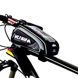 WILDMAN Bike Bicycle Handlebar Frame Pannier Front Top Tube Bag Pack Rack X Large Waterproof for Iphone 6 6 Plus Samsung Mobile Phone Screen Touch Holder (black)