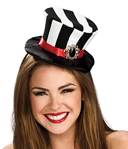 Rubie's Women's Black and White Striped Mini Top Hat, Black/White, One Size -