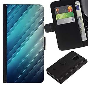 All Phone Most Case / Oferta Especial Cáscara Funda de cuero Monedero Cubierta de proteccion Caso / Wallet Case for Samsung Galaxy S5 Mini, SM-G800 // Reflection Light Blue Stripes Lines