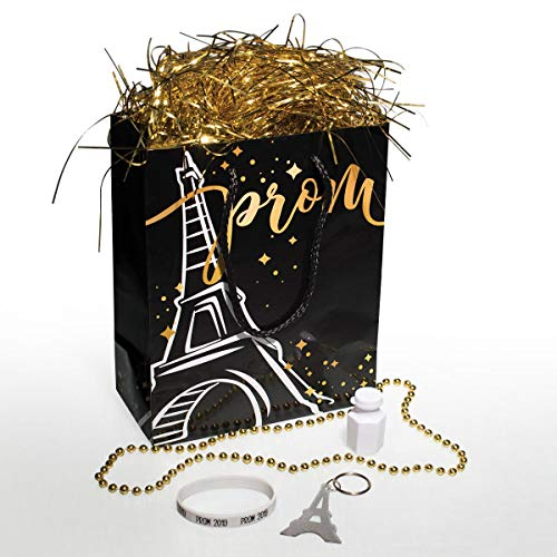 Paris Prom Swag Bag Kit, 8 x 10 Bag, Key Chain, Beaded Necklace, Bubbles, Prom 2019 -