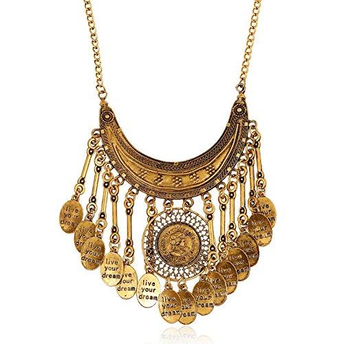 HeyGirl Letter Tassel Capitation Money Vintage Accessories Necklace (Multi Marcasite Strand)
