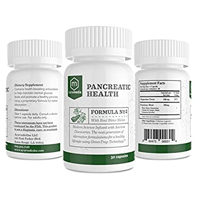 Pancreatic Health Ayurvedic Supplement with Real Bitter Melon - Antioxidants to Maintain Glucose Levels and Increase Insulin Resistance - 30 Capsules