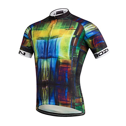 Uriah Men's Cycling Jersey Short Sleeve Abstract Cubes Size ()