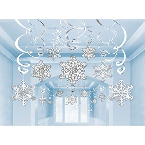 30 pcs Hanging Swirl Decoration Kit-Snowflake Swirl Hanging Cards For Kids Frozen Theme Party, New Year, Various Festivals (Snowflakes) (Winter Wonderland Party Theme)