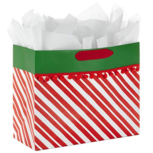 Hallmark Large Christmas Gift Bag with Tissue Paper (Red Stripes and Pom Poms) (Wrap Gift Christmas Stripe)