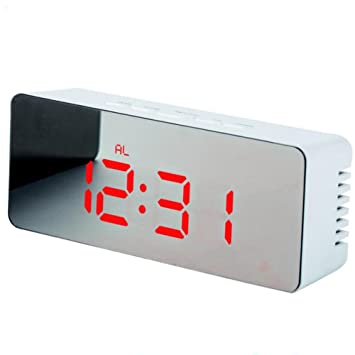 Clock Alarma Reloj Led Espejo Reloj Multifunción Decoraciones De Escritorio Termómetro Digital Adornos Simples Estudio Oficinas,Red: Amazon.es: Hogar