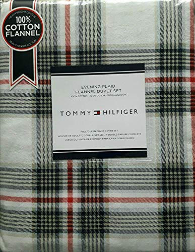 (Tommy Hilfiger Evening Plaid Flannel Duvet Set, Full, Queen, Red, Blue, Navy, Tan, Stripes on White)