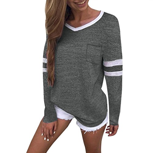 JOFOW Women's Autumn Casual Long Sleeve Solid Cotton V Neck Loose Blouses Tops (XL,Dark Gray) from JOFOW