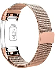 Vancle Strap for Charge 2, Charge 2 Adjustable Stainless Steel Metal Milanese Replacement Watchband with Magnetic Closure Clasp (Sakura Pink, Large)
