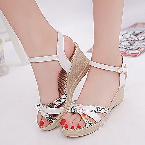 EU39 Haut Sandales Pente Des Éponge Chaussures SHOESHAOGE Épais Boucle Talon Femmes Chaussures Chaussures Femmes Taiwan Avec Imperméables Gâteau Fendu Mom 7qHwz