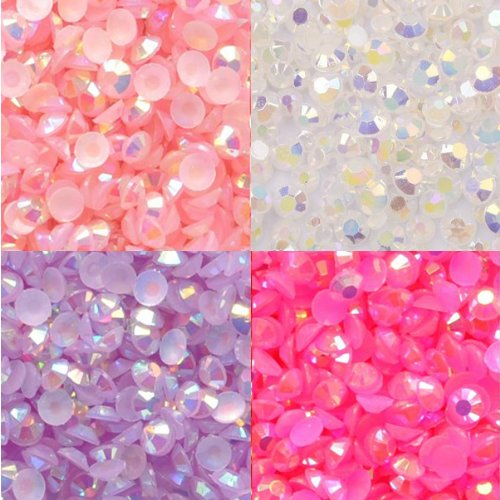 - Beading Station 800 Plus Pieces BSI Flat Back 14-Facet AB Jelly Rhinestones, 3mm-10ss, White, Pink, Fuchsia and Lavender