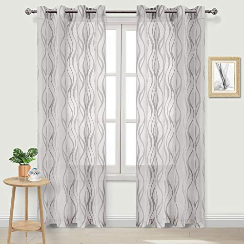 DWCN Sheer Curtains - Faux Linen Stripe Pattern Burnout Semi Sheer Voile Bedroom and Living Room Curtains, 52 W x 84 L inches Long, Set of 2 Grommet Curtain Panels, Grey