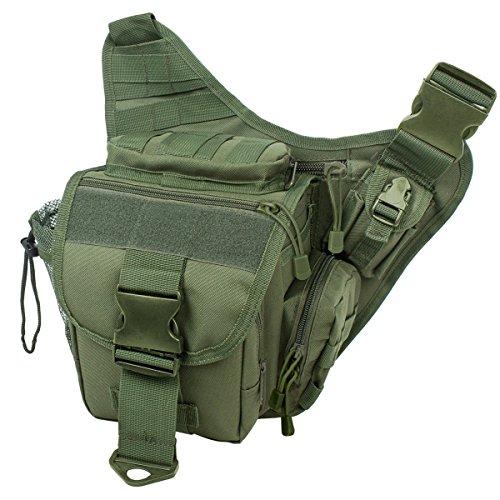 S-ZONE 600D Polyester Molle Tactical Schulterriemen Tasche Military Reise Rucksack Kamera Geld Utility Bag Taille Vagabund Daypack Versipack grün jheK6i4i