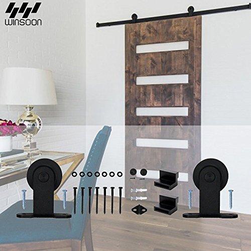 WINSOON 10 FT Interior Indoor Sliding Barn Door Hardware Track Kit T Shaped Style Closet Rail Fit for Single Wooden Door (Omnia Door Door Stop)