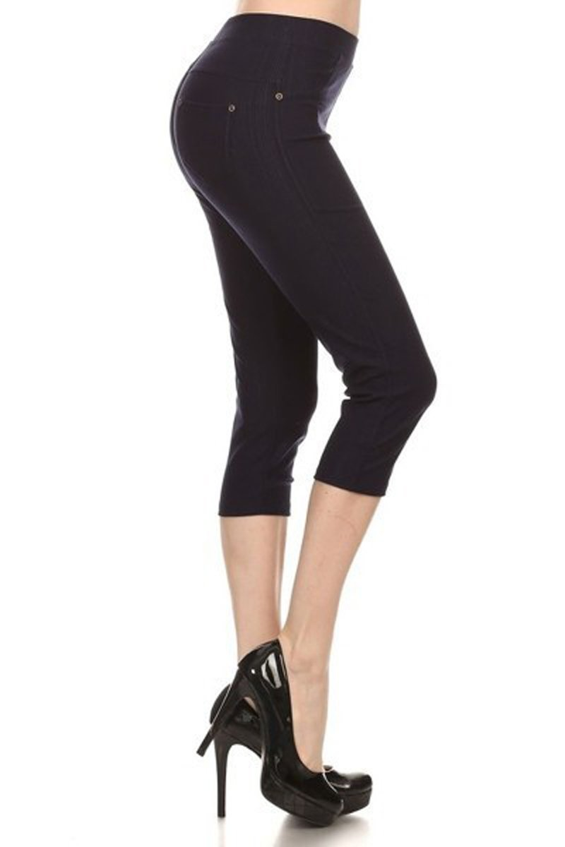 Leggings Depot Premium Quality Jeggings Regular and Plus Soft Cotton Blend Stretch Solid Fitted Capri Pants w/Pockets 51MDG64ObaL
