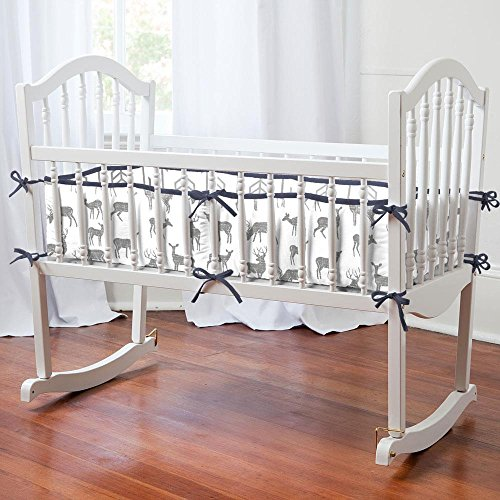 Carousel Designs Gray and Navy Deer Cradle Bumper by Carousel Designs