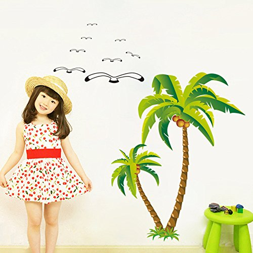 Burnett Canvas Painting (EMIRACLEZE Christmas Gift New Style Coconut Tree Removable Mural Wall Stickers Wall Decal for Kids Room and Wall Home Decor)