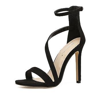Sandalias Mujer Tobillo Estilete Correa Ante Tacón Alto Zapatos pwqadBfx